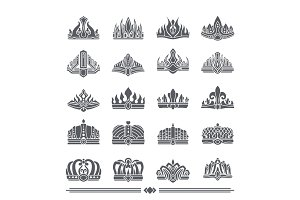 Set of Crowns Colorless Banner Vector Illustration