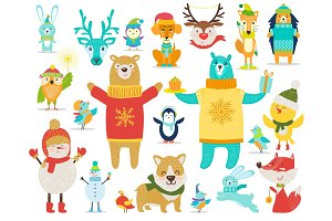 Collection of Animals, Snowmen Vector Illustration