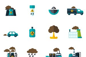 Pollution icon flat set