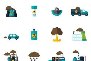Pollution icon flat set