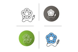 Flower shape USB hub icon