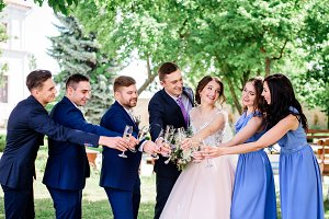 Newlyweds and their friends