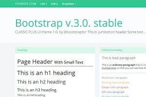 Bootstrap 3.0. WhiteGreen flat theme