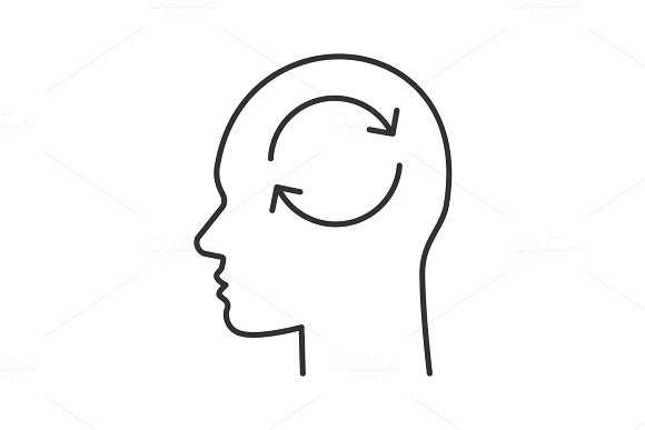Human head with refresh sign inside linear icon