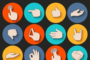 Human hands gestures icons set