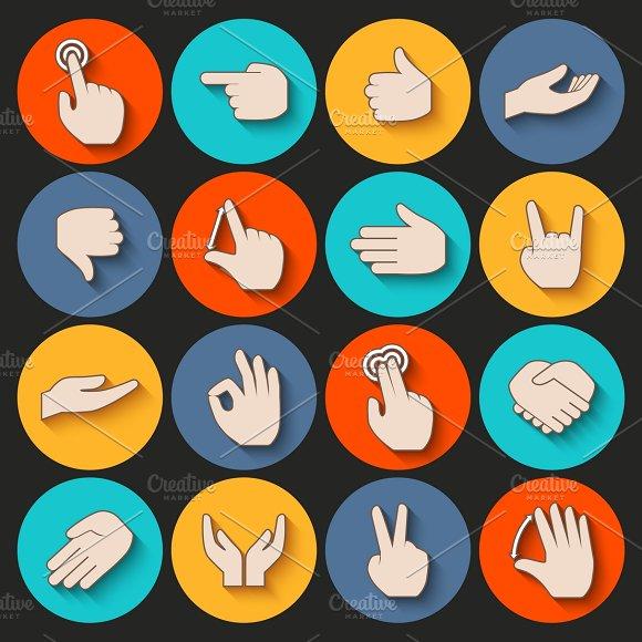 Human hands gestures icons set