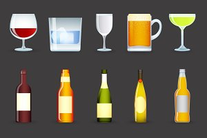 Alcohol drinks icons set