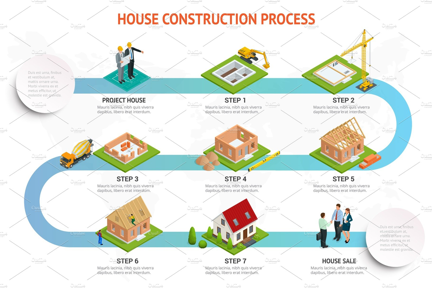 infographic construction of a brick house house building. Black Bedroom Furniture Sets. Home Design Ideas