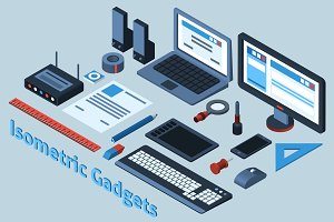 Isometric mobile gadgets set