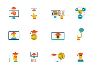 Online education icons flat set
