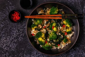 asian stir fry rice with vegetables
