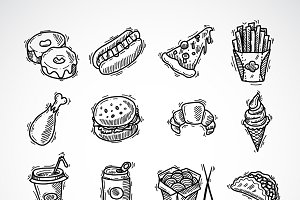 Fast food sketch icons set