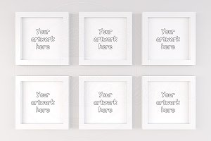 Kids 6 white square mock-ups frame