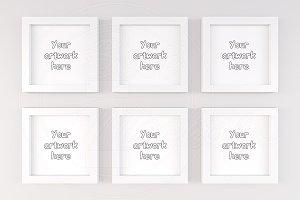 Kids 6 white square mock-ups frame
