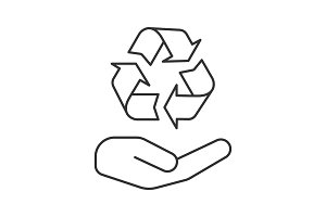 Open hand with recycling sign linear icon