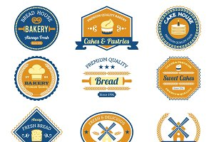 Cupcake bakery labels set