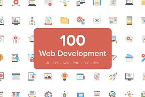 100 Flat Icons of Web Development