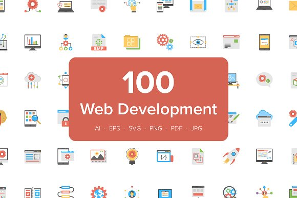 100 Flat Icons of Web Development