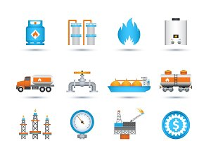 Nature gas icons set