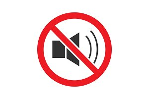 Forbidden sign with loudspeaker glyph icon