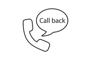Handset and speech bubble with call back inside linear icon