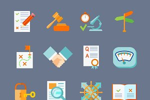 Legal compliance flat icons set