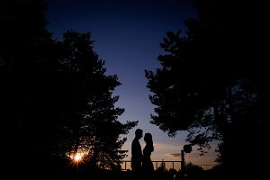 Silhouettes of a couple