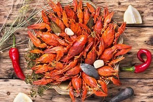 cooked crayfish in metal pan