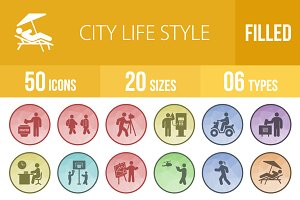 50 City Life Filled Low PoIy Icons