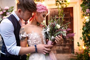 Beautiful bride with pink hair