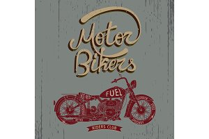 Vintage label with motorcycle