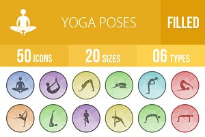 50 Yoga Poses Filled Low Poly Icons