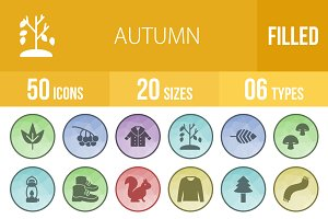 50 Autumn Filled Low Poly Icons