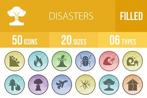 50 Disasters Filled Low Poly Icons