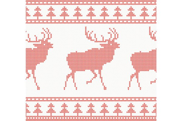 Knitted Deer Seamless Pattern in Re…