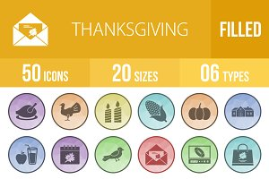 50 Thanksgiving Filled Low Poly Icon