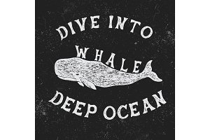 Vintage label with whale