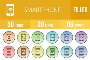 50 Smartphone Filled Low Poly Icons