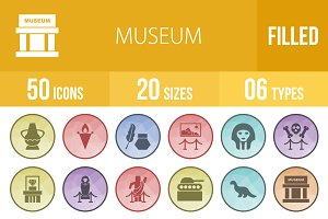 50 Museum Filled Low Poly Icons