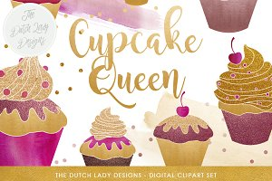 Cupcake Clipart In Gold & Glitter
