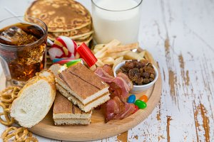 Selection of food that can cause diabetes