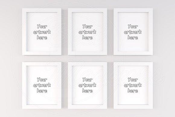 Kit of 6 nursery frames mockup 4:5