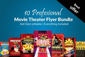 10 Movie Theater Flyer Bundle Vol:01