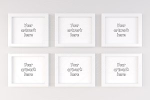 Six digital frames mockup template