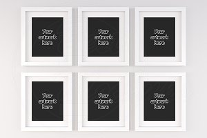 Set of 6 blank white frame mock ups