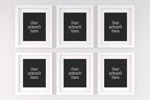 Set of 6 blank white frame mock ups