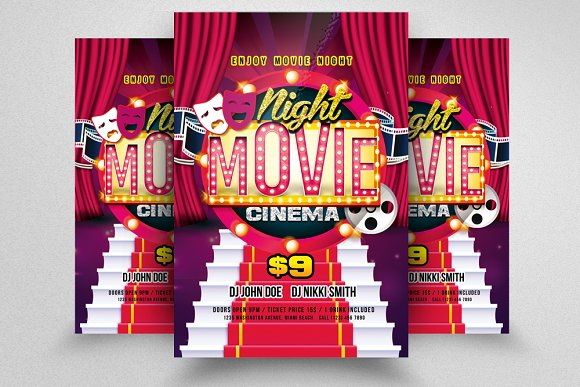 movie theater flyer templates flyer templates creative market