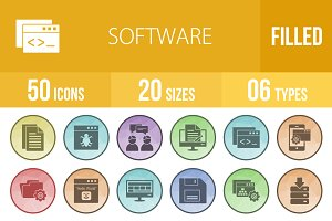 50 Software Filled Low Poly Icons
