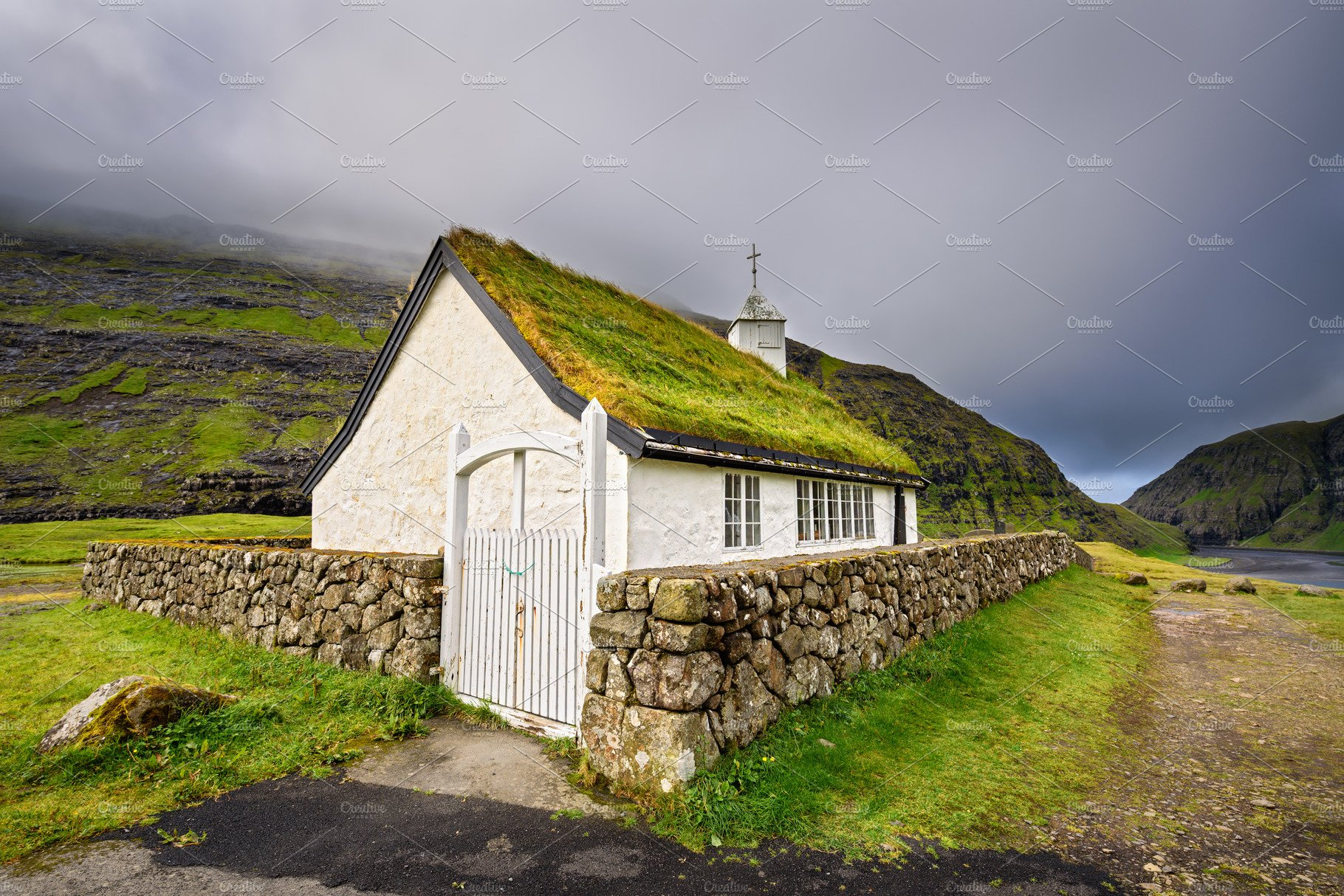 Small Village Church In Saksun Faroe Islands Denmark