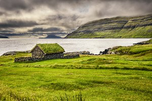 Rustic stone cabin on Faroe Islands, Denmark